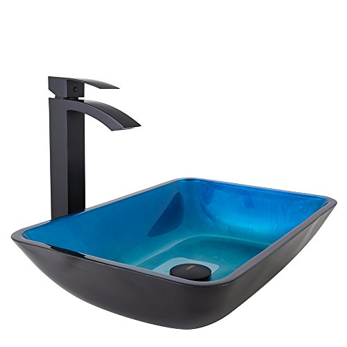 VIGO Rectangular Turquoise Water Glass Vessel Bathroom Sink and Duris Vessel Faucet with Pop Up, Matte Black