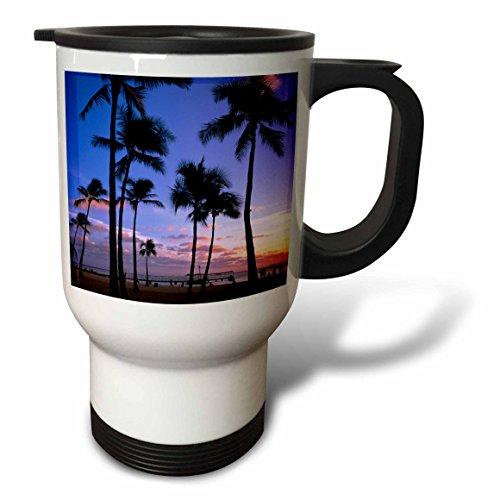 3dRose tm_89814_1'' Sunset on Waikiki Beach Oahu, Hawaii, USA Michael Defreitas'' Travel Mug, 14 oz, Multicolor by 3dRose