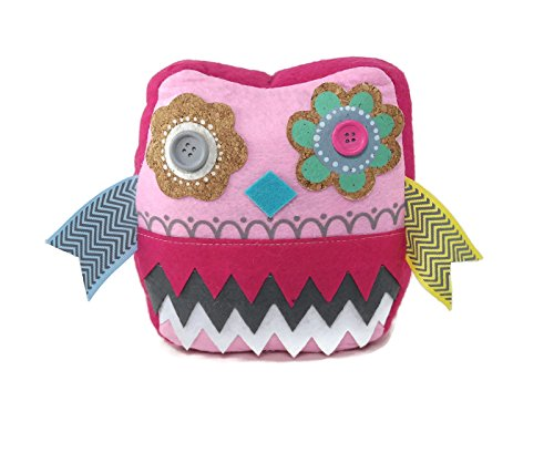 DeMasa Owl Flower Patterned Fabric Weighted Door Stop Doorstopper (Pink) (Owl Fabric Pink)