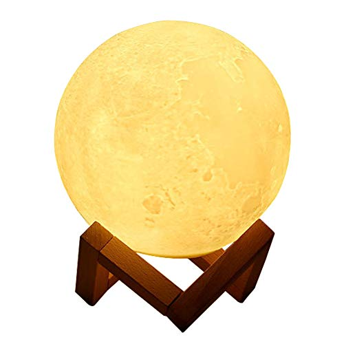 Cherioll Lamp Globe, Night, 3D Printed, Touch Control, USB Rechargeable, Decor Moon Light for Kids, Birthday, Bedside, 1 Pack, White