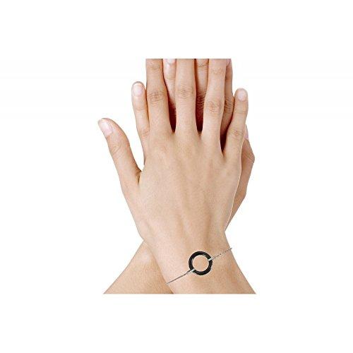 Les Poulettes Bijoux - Bracelet Argent Rhodié Rondelle Céramique Noire