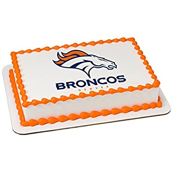 Amazon Com Nfl Denver Broncos Licensed Edible Sheet Cake Topper