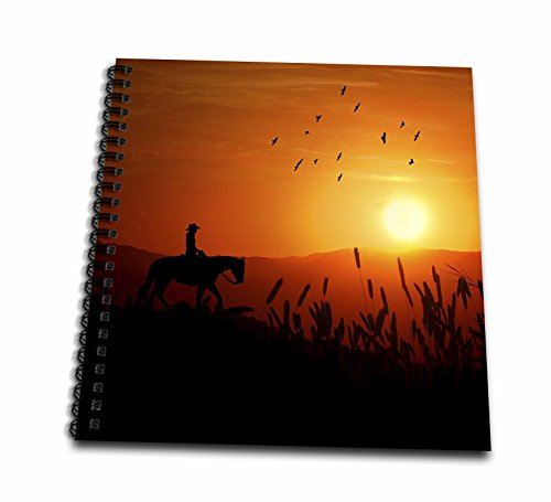 3dRose db_173218_2 Cowgirl on Horseback Riding at Sunset in a Field of Wheat Western Art-Memory Book, 12 by 12-Inch ()