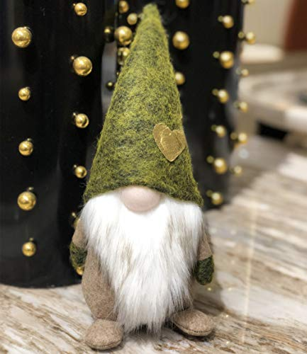 (Amazlab St Patrick's Day Handmade Gnome Plush Standing Figurine for Spring, Irish Gnome Elf Scandinavian Yule Santa Nisse, Nordic Elf Figurine Home Holiday Decoration Ornaments, Green Gnome 11in )
