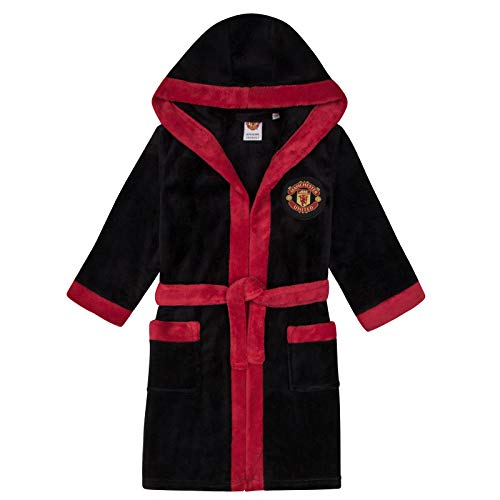 Trim Manchester - Manchester United FC Official Gift Boys Fleece Dressing Gown Robe Black 5-6 Yrs