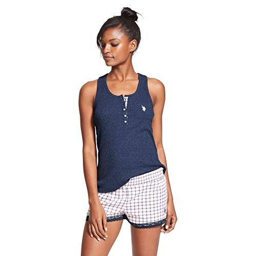 Womens Summer Racer Tank (U.S. Polo Assn. Womens 2 Piece Lightweight Racer Back Tank Shorts Sleepwear Set Tribal Navy X-Large)