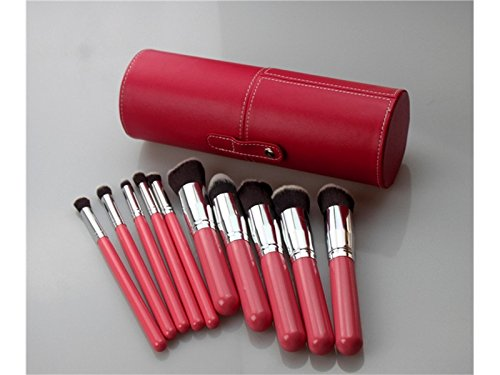 Hezon Ten PCS Beauty Tools Makeup Brush Set + Large PU Brush Tube EASY TO USE