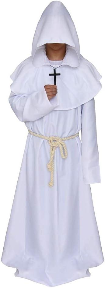 Blanc d/éguisements dhomme Halloween KIRALOVE Costume de Moine Carnaval Taille s Moine Moyen /âge Habit avec Capuche pr/être id/ée Cadeau Originale Cosplay Accessoires