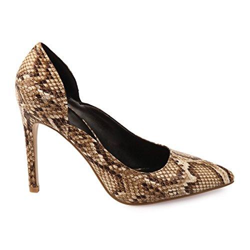 La Modeuse échancrés-zapatos de tacón para mujer tipo estilete piel sintética Beige - beige