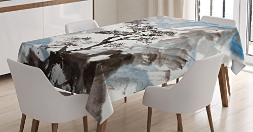 Ambesonne Japanese Decor Tablecloth, Hazy Artistic Depiction of A Pine Tree Landscape on the Hill Mountain with Rough Blasts , Rectangular Table Cover for Dining Room Kitchen, 52x70 Inches, Blue Grey