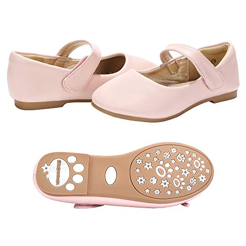 - PANDANINJIA Girls Susie Pink Party Wedding Ballerina Ballet Mary Janes Flats Dress Shoes (Toddler/Little Kid)