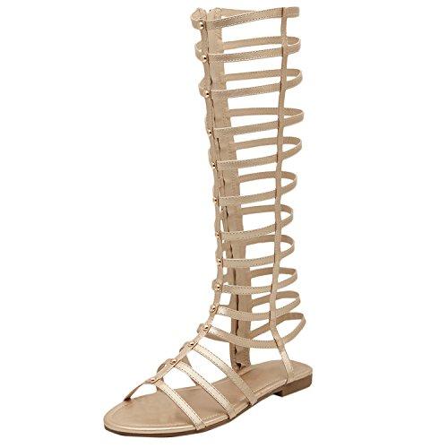 D2c Beauty Dames Open Teen Knielaarzen Gladiator Strappy Sandalen Zwart