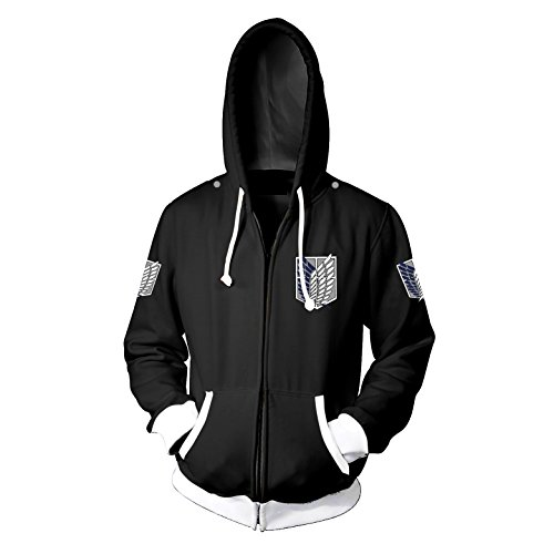(CHENMA Men Attack on Titan Long Sleeve Full-Zip Bomber Jacket Hooded Varsity Jacket)
