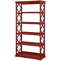 Furniture of America Vera Contemporary 5 Shelf Bookcase in Red