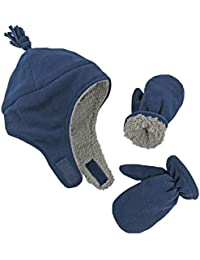Little Boys and Baby Sherpa Lined Warm Fleece Pilot Hat Mitten Set