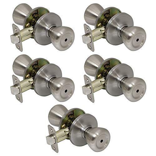 5 Pack of Pro-Grade Classic Privacy Bed Bathroom Door Knobs Handles, Satin Nickel