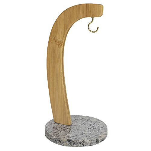 Home Basics BT47697 anana Bamboo Banana Tree Hanger Stand Stainless Steel Hook Well Balanced Kitchen Utensil Grape Holder with Granite Base, White