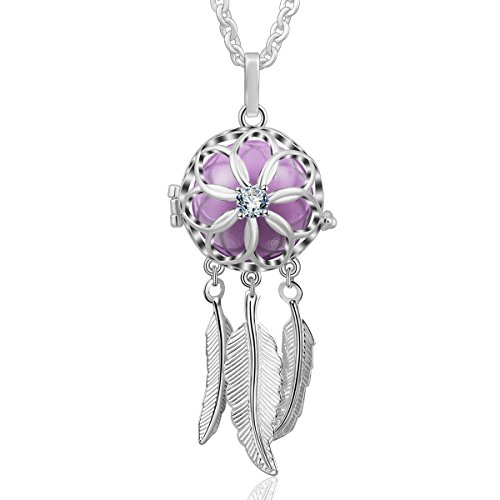 AEONSLOVE Good Luck Dream Catcher Feather Harmony Ball Angel Chime Bell Pendant Long Chain Necklace, Jewelry Gift for Women Girls ()