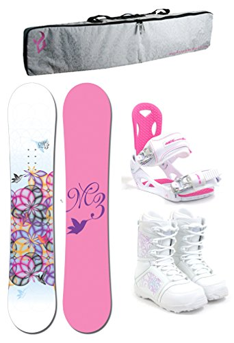 M3 Escape Women's Complete Snowboard Package M3 Bindings+Boots+PADDED BAG - Board Size 144 (Boot Size 6)