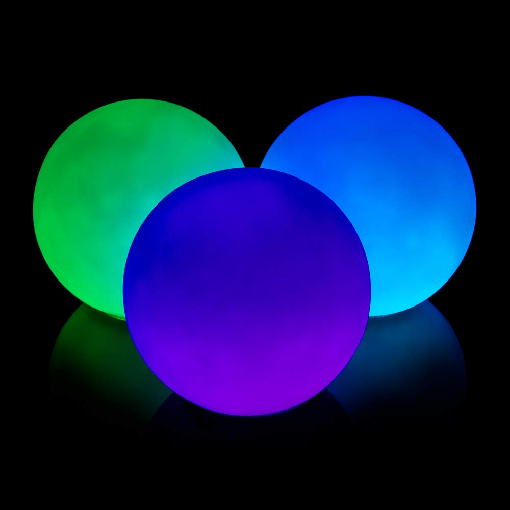 GloFX 78 mm Professional LED Juggling Balls Pro Weighted Set of 3 Light Up Glow in The Dark Ball Juggle