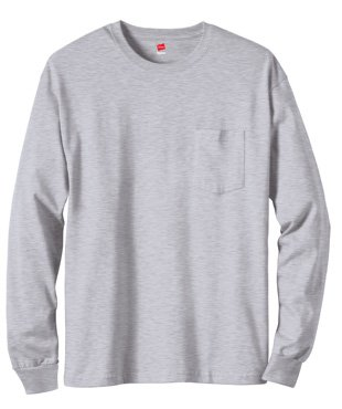 Hanes Tagless 6.1 oz Long-Sleeve with Pocket, Light Steel, - Store New Outlet Jersey