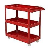 TataYang 3 Tier Shelf Tool Cart Storage Wheel Cart Trolley Heavy Duty Garage Workshop DIY Tool 450lb (Red)