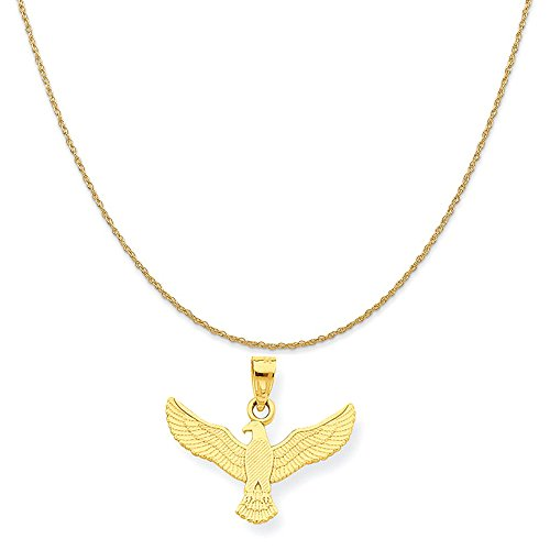Mireval 10k Yellow Gold Eagle Charm on a 14K Yellow Gold Rope Chain Necklace, 18