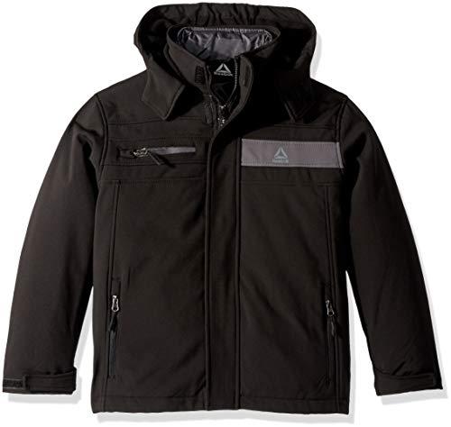 Reebok Boys' Big Active Zipped Systems Jacket, Black Pop, - Boys System Jacket