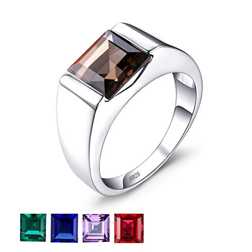 (Jewelrypalace Men's Square 2.2ct Genuine Smoky Quartz Wedding Ring 925 Sterling Silver Size 8)