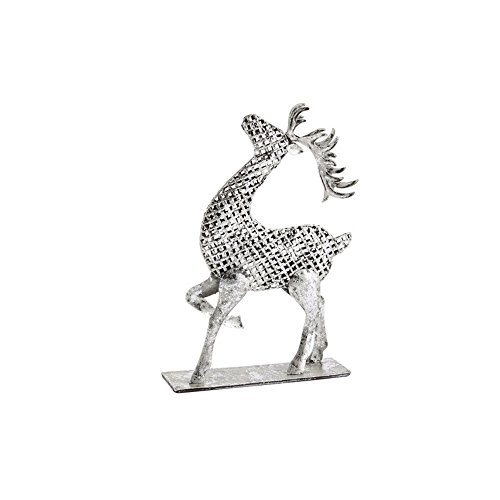 CGB Giftware Christmas Silver Glitter Metal Reindeer (H: 8.7in. W: 5.5in. D: 1.7in.) (Silver) (Silver Reindeer Glitter)