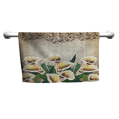 (Custom Towel Floral Greenery Floral Decor Calla Lilly Flowers Decoration Vintage Design Retro Pattern Baroque Frame Bouquet,Yellow Beige Green,Sand Free Towel for The Beach)