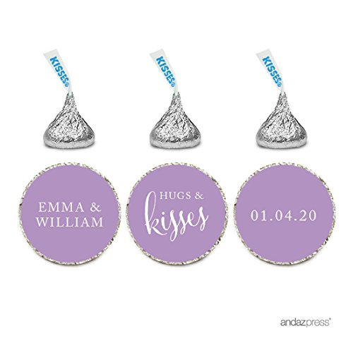 Andaz Press Personalized Wedding Chocolate Drop Label Stickers, Hugs and Kisses, Lavender, 216-Pack, For Engagement Bridal Shower Hershey's Kisses Party Favors (Lavender Hugs)