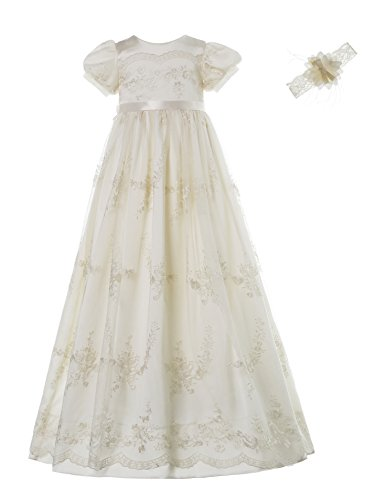 Baby Girls Newborn Christening Embroidered Gown Dress Outfit with (Cotton Cap Sleeve Shell)