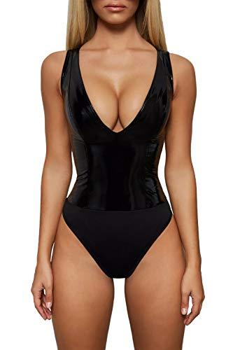 Velius Women's Sexy Deep V Neck PU Leather Thong Bodysuit Clubwear (Black, Medium) -