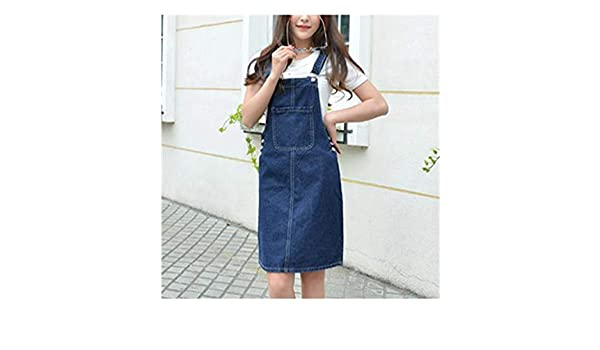 Summer Women Denim Dress Girls Casual Loose Overalls Female Solid Color Jeans Dresses at Amazon Womens Clothing store: