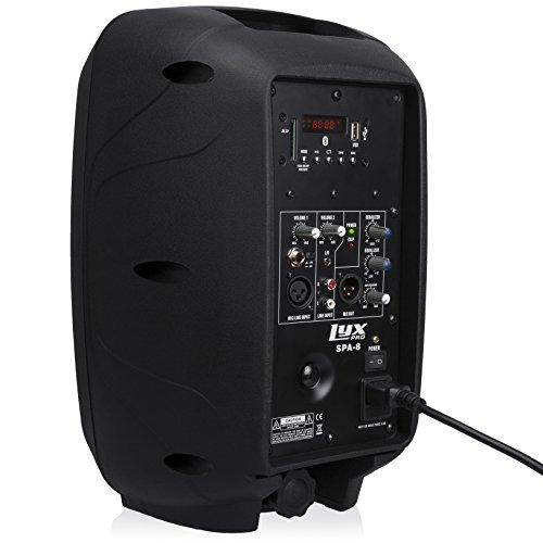 LyxPro SPA-8 Tragbare PA-Anlage, 100 W RMS Aktivlautsprecher, Integrierter Equalizer, Bluetooth, SD-Kartenschacht, USB, MP3, XLR, 1/4