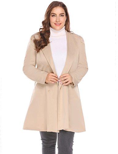 BEAUTYTALK Womens Plus Size Lapel Double-Breasted Long Trench Coat (Khaki, XXX-Large)