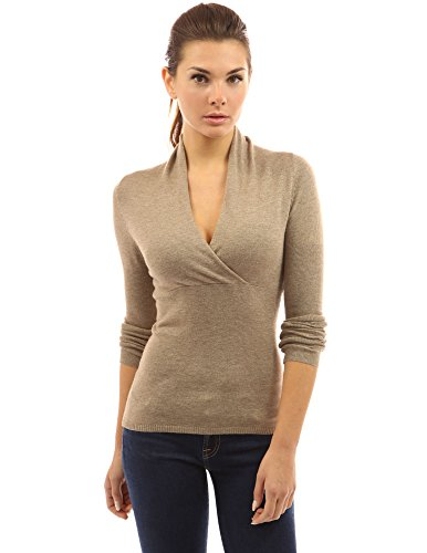 Waist Nylon Knit Shirt - PattyBoutik Women's V Neck Empire Waist Knit Top (Heather Tan XL)