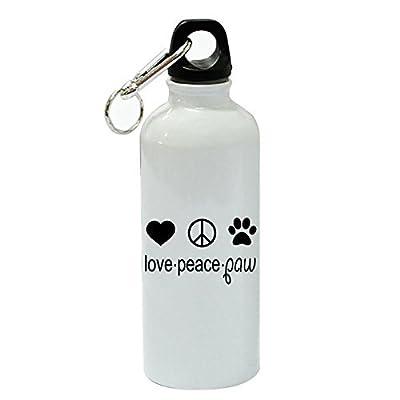 76dinahjordan Amour–Peace–Paw Sports Bouteille d'eau Funny Blanc en aluminium Bouteille d'eau Bouteille de gym fantaisie pour femme, pour hommes, pour enfants, pour Mom