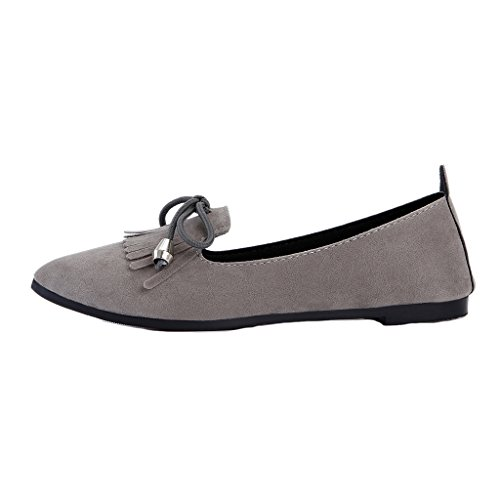 Binying Pumps Women's Tassel Gray Flat Slip Bowknot on rUrOZ7WYqz