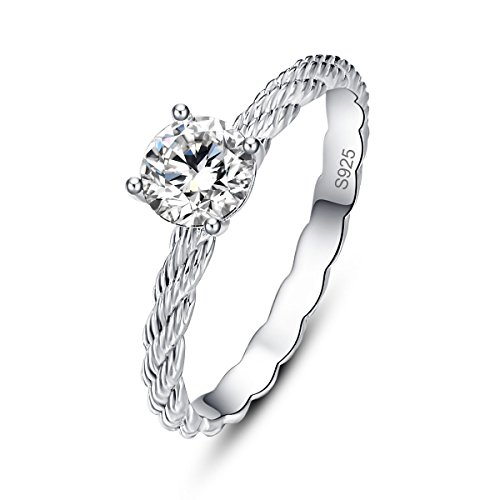 Rope Design Solitaire Ring (Avecon Sterling Silver Rope Design Round Cut White CZ Solitaire Anniversary Band Ring for Women Size 7)