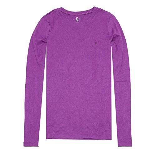 Tommy Hilfiger Women Long Sleeve Crewneck Logo T-shirt (XS, Magenta)