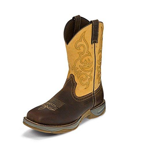Tony Lama Heren Unction Stoffige Stalen Neus 11 Hoogte (rr3350) | Voet Stoffig San Antone | Pullon Westernlaarzen | Browns Cowboy Lederen Laars | Handgemaakt In De Vs.