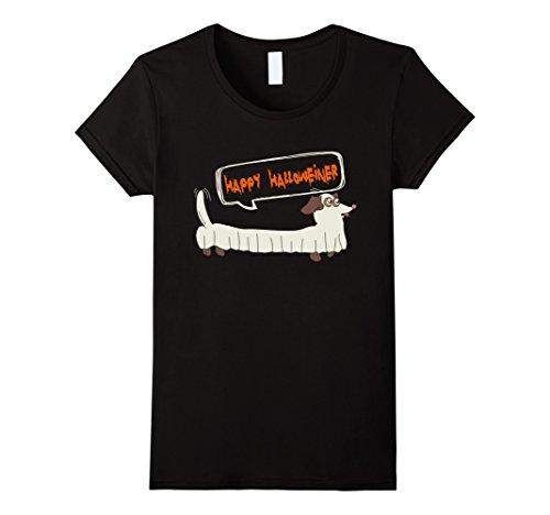Funny Weenie Dog Costumes (Womens Happy Halloweiner T-shirt Dachshund Halloween Dog XL Black)