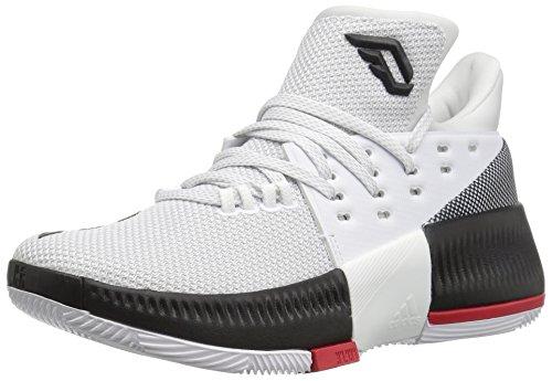 adidas Performance Boys D Lillard 3 J Shoe, White/Black/Light Scarlet, 6 M US Big Kid