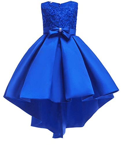 (Shiny Toddler Little Girls Pleated Beaded High-Low Applique Embroidered Flower Girl Pageant Dance Party Dress,RoyalBlue,6-7)