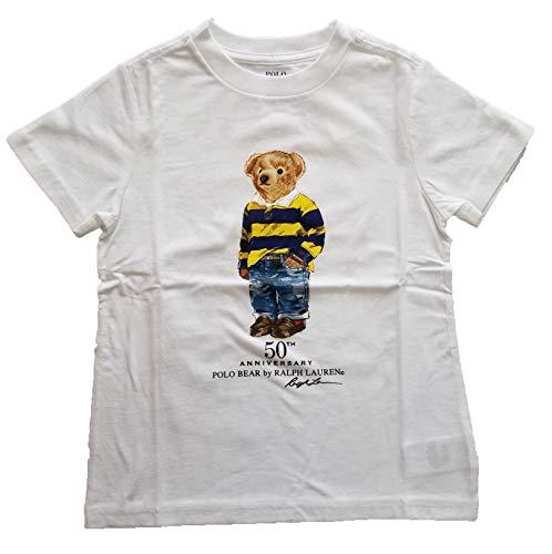 Bear Mesh - Ralph Lauren Little Boys Polo Crewneck Tee Solid (7, White/Casual Bear Mesh Shirt)
