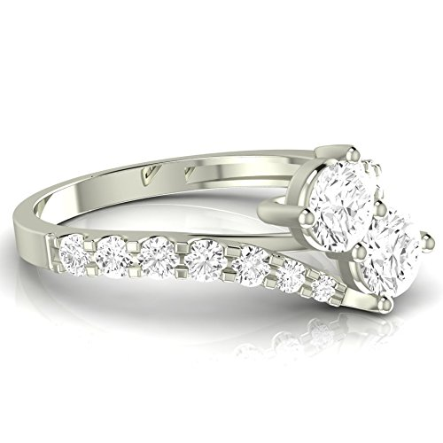 Near 1 Carat t.w. Twisting Pave Set 2rue Love 2 Stone Collection Round 14K White Gold Diamond Engagement Ring (I-J Color, SI1-SI2 ClarityCenter Stones) by Houston Diamond District (Image #2)
