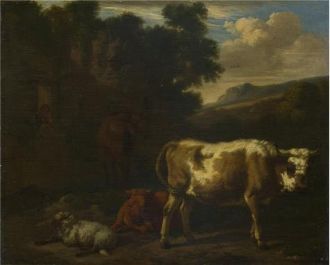 Oil Painting 'Dirck Van Den Bergen - Two Calves, A Sheep And A Dun Horse By A Ruin,about 1665' Printing On Perfect Effect Canvas , 12x15 Inch / 30x38 Cm ,the Best Basement Decoration And Home Decor And Gifts Is This High Quality Art Decorative Canvas Prints