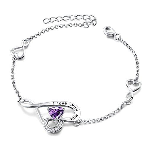 Mother's Birthday Gifts I Love You Mom Sterling Silver Love Heart Infinity Adjustable Charm Bracelet (Purple) - Mom Photo Bracelet
